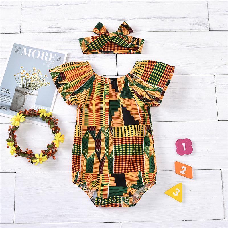 2-piece Geometric Pattern Bodysuit & Headband for Baby Girl