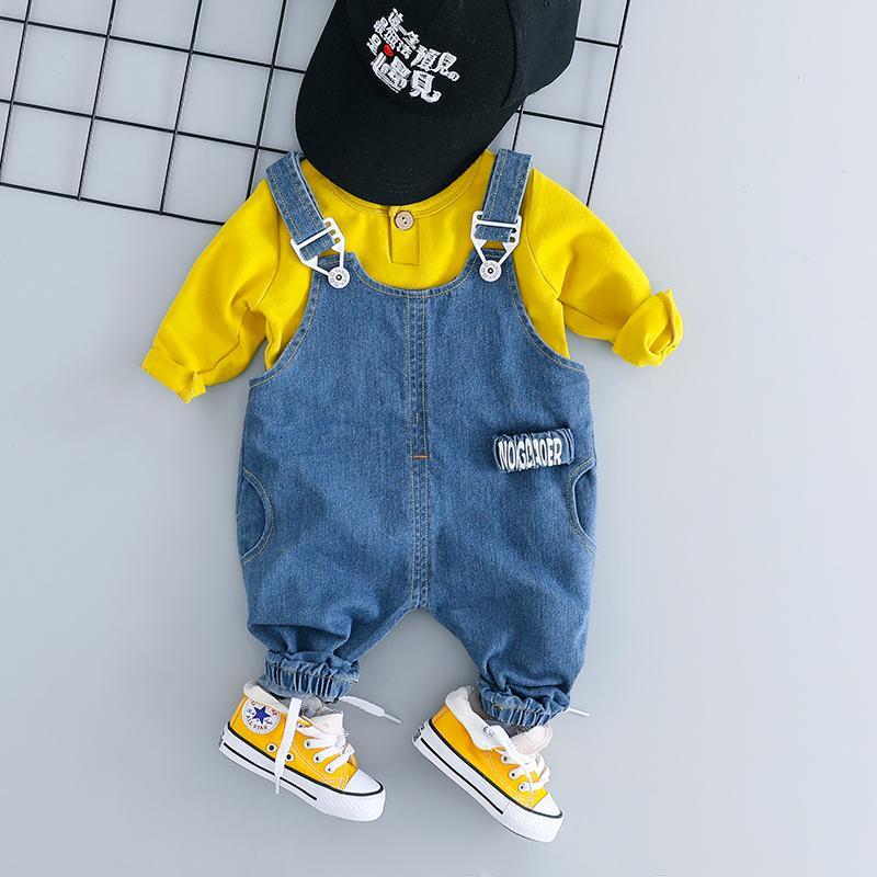 2-piece Solid Sweatshirt & Denim Dungarees for Toddler Boy