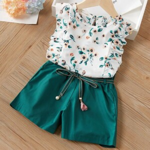2-Piece Floral Ruffled Top and Solid Belted Shorts