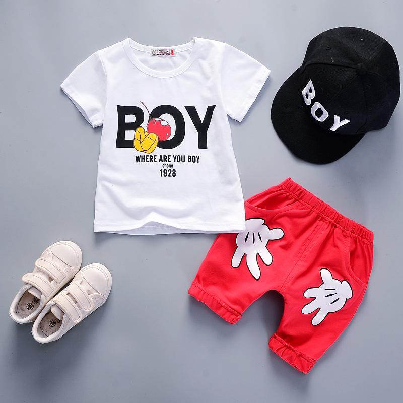 2-Piece Letter Print Tee and Palm Print Shorts