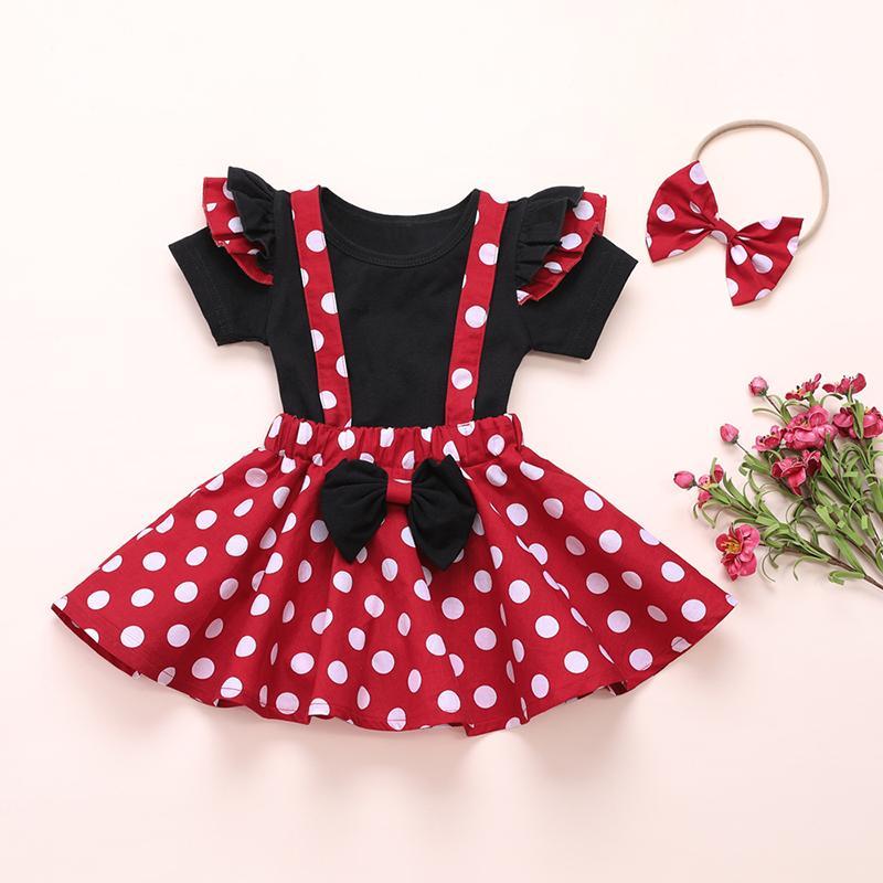 3-piece Solid Ruffle T-shirt & Polka Dot Dress & Headband for Toddler Girl
