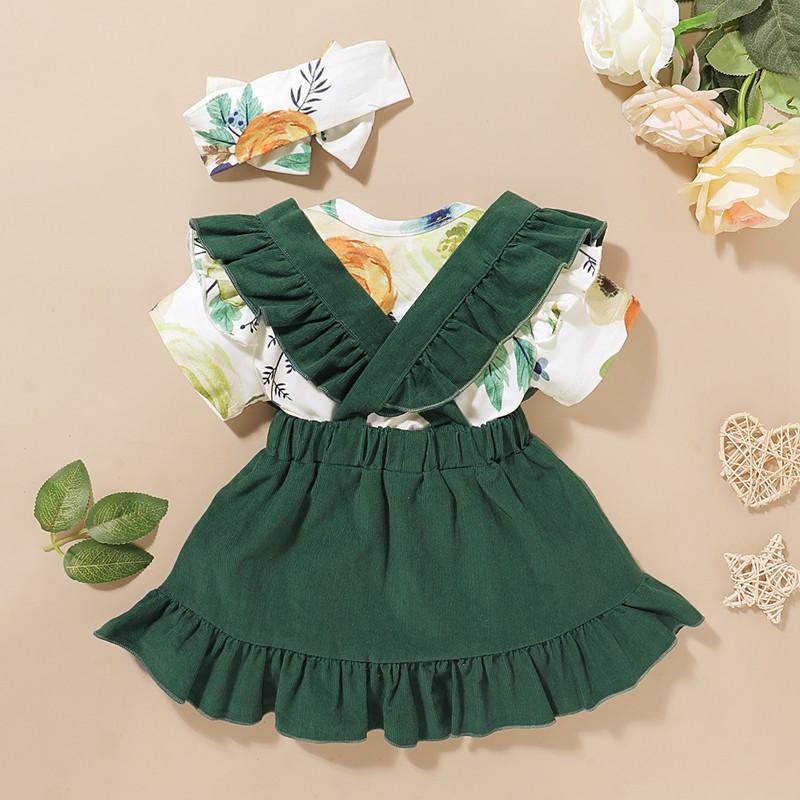 3-piece Floral Printed Bodysuit & Solid Braces Skirt & Headband for Baby Girl