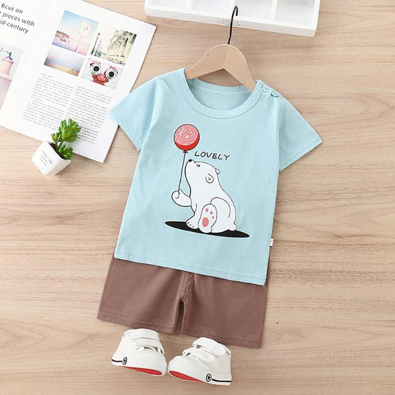 2pcs Fashion Bear Print T-shirt and Pants