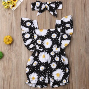 2-piece Ruffle Daisy Printed Jumpsuit for Baby Girl