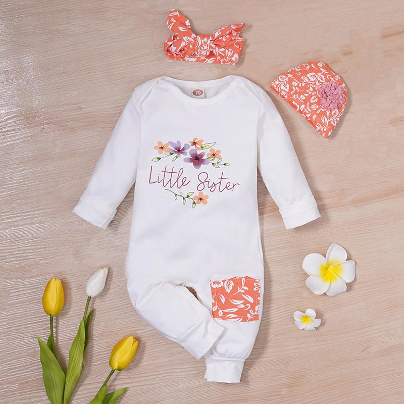 3-piece Floral Printed Jumpsuit with Headband & Hat for Baby Girl