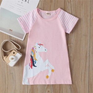 Short-Sleeve Striped Horse Print Dress