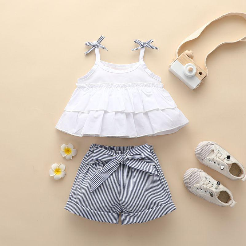 2-piece Bow Solid Top & Stripes Shorts for Toddler Girl