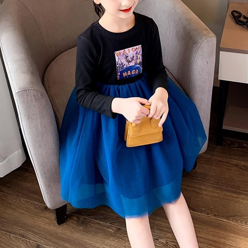 Girl Clothes Mesh Knee Length Princess Dress