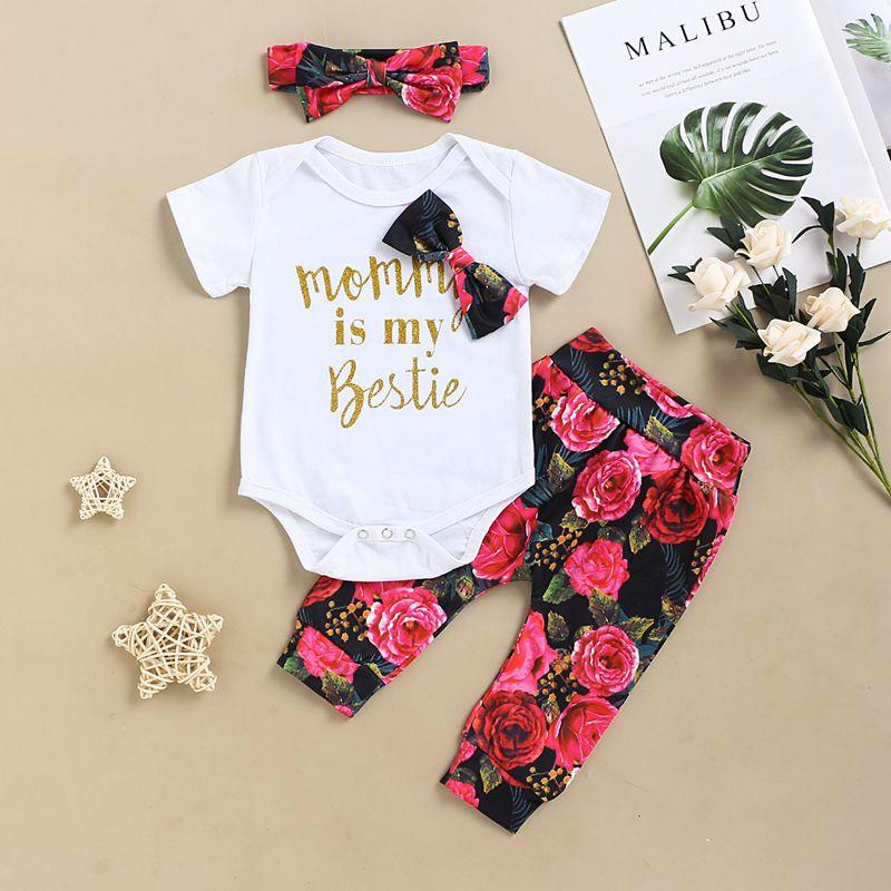 3-piece Letter Pattern Bodysuit & Floral Printed Pants & Headband for Baby Girl