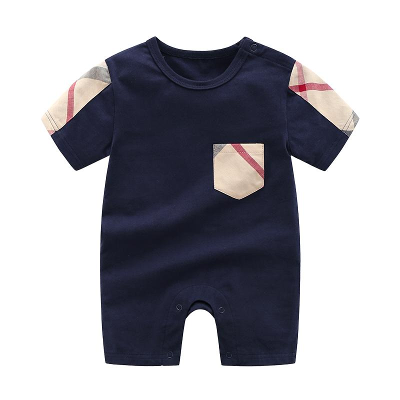 High Quality Cotton Classic Plaid Short-sleeve Bodysuit