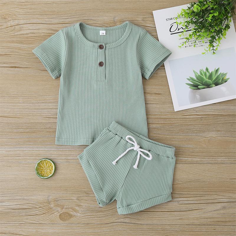2-piece Solid T-shirt & Shorts for Baby