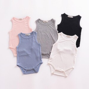 Solid Sleeveless Knitted Bodysuit