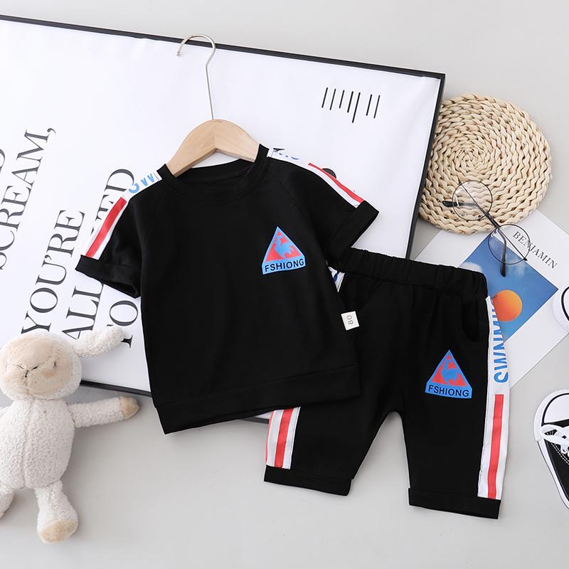 2pcs Fashion Color-block Letter Print T-shirt and Pants