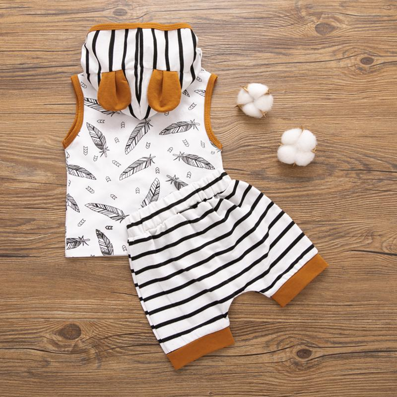 2-Piece Floral Hooded Short-Sleeve Tee and Striped Shorts