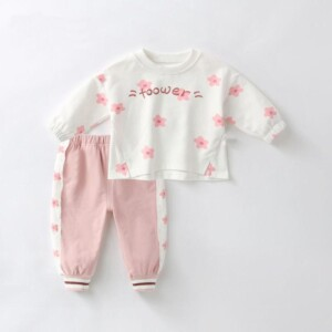 2pcs Toddler Girl Floral Pattern Sweatshirt & Pants