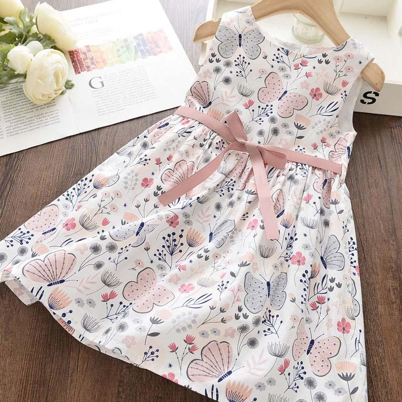 Bowknot Decor Floral Printed Dress for Toddler Girl