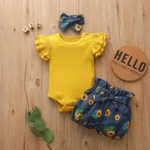 3-piece Solid Ruffle Bodysuit & Floral Printed Shorts & Headband for Baby Girl