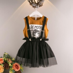 2-Piece Sleeveless Letter Print Tank Top and Suspender Tutu Skirt