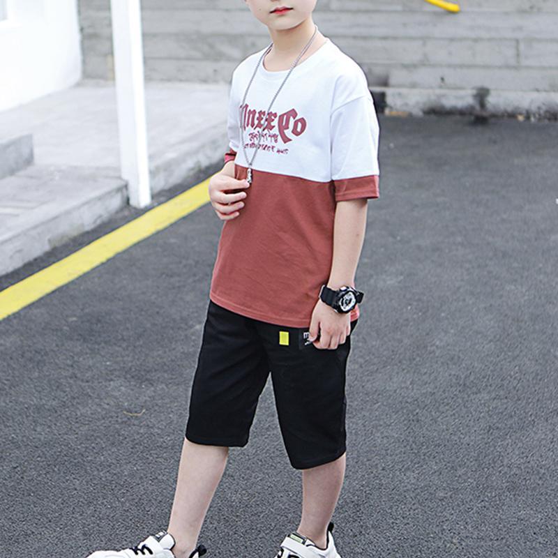 2-piece Color-block Letter Pattern T-shirt & Shorts for Boy