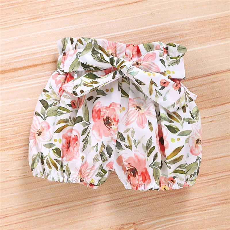 3-piece Solid Ruffle Bodysuit & Floral Printed Shorts & Headband