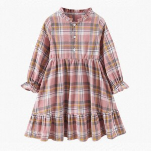 Girl Clothes Long Sleeve Plaid Dress
