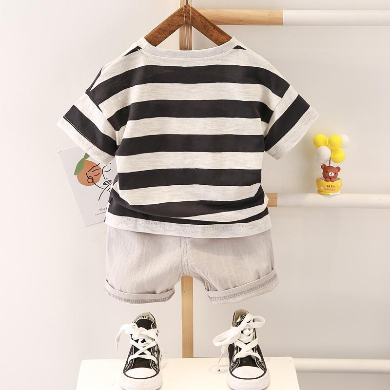 2-piece Solid Strip Short-sleeve Top and Shorts for Toddler