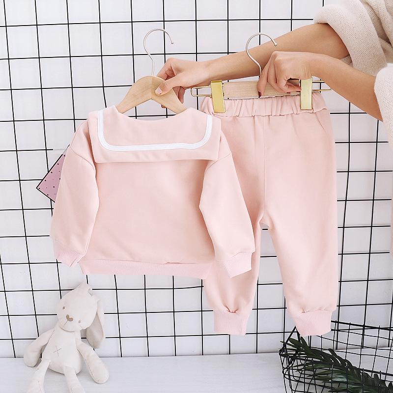 2pcs Toddler Girl Set Navy Shirt & Pants
