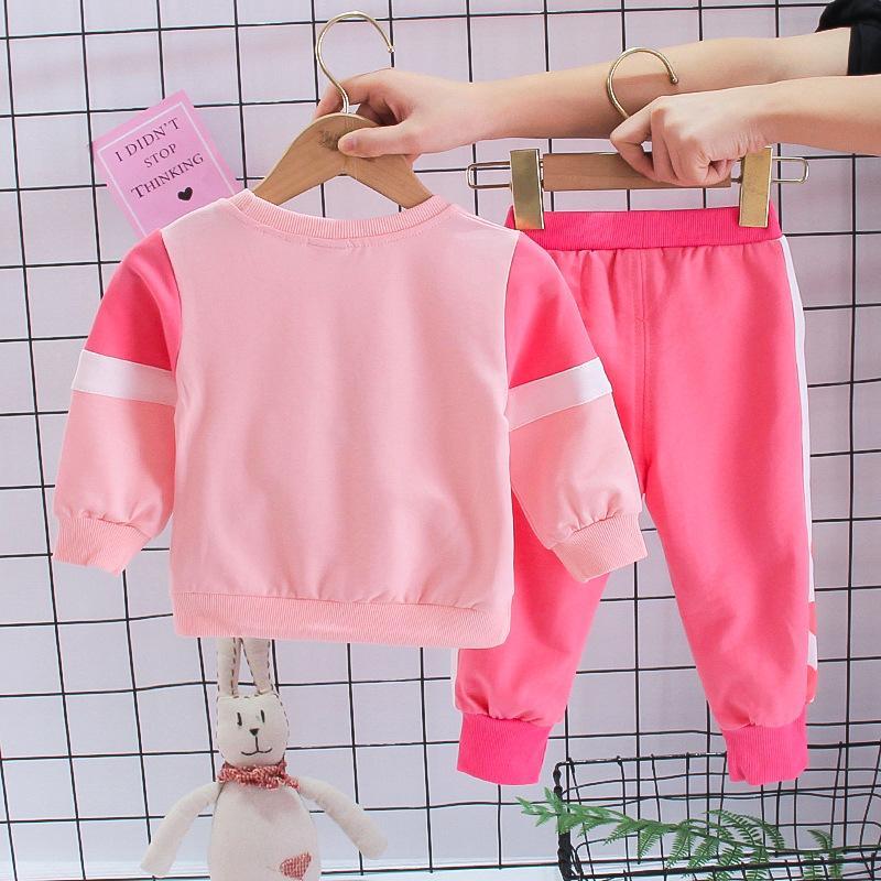 2pcs Toddler Girl Clothes Set Heart-shaped Printing Sweatshirt & Pants