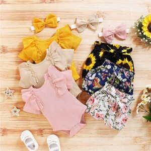 3-piece Solid Ruffle Bodysuit & Floral Printed Shorts & Headband