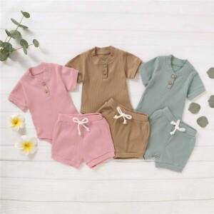 2-piece Solid Knit Bodysuit & Shorts for Baby