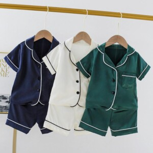 2-piece Solid Cotton Pajamas for Toddler Boy