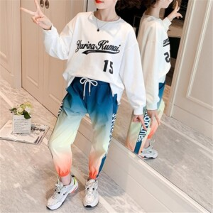 Girl Clothes Outfit Sweatshirt & Gradient Color Pants