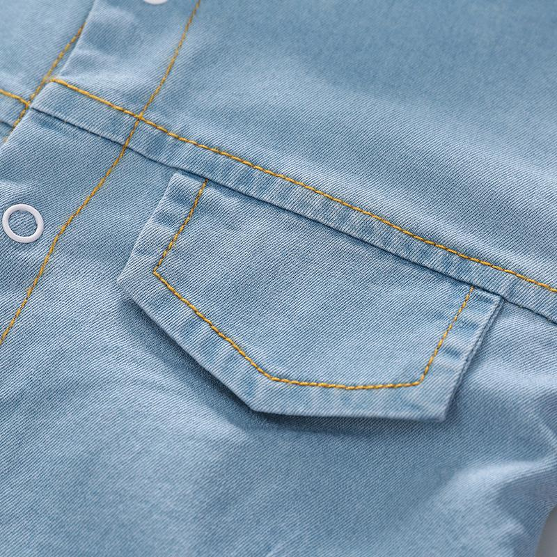 Long-Sleeve Animal Embroidered Denim Jumpsuit