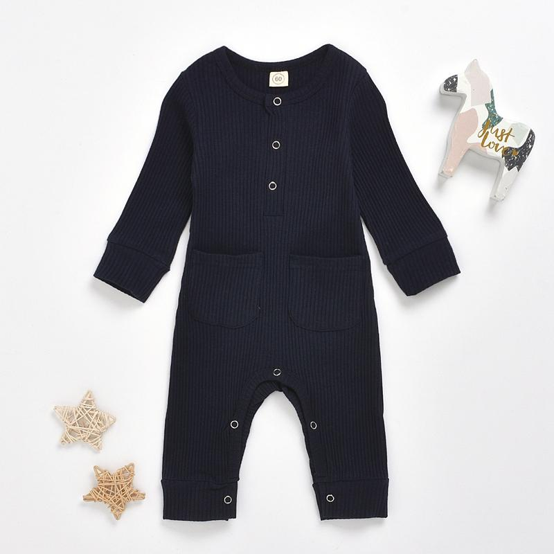 Solid Pocket Design Jumpsuit for Baby Boy