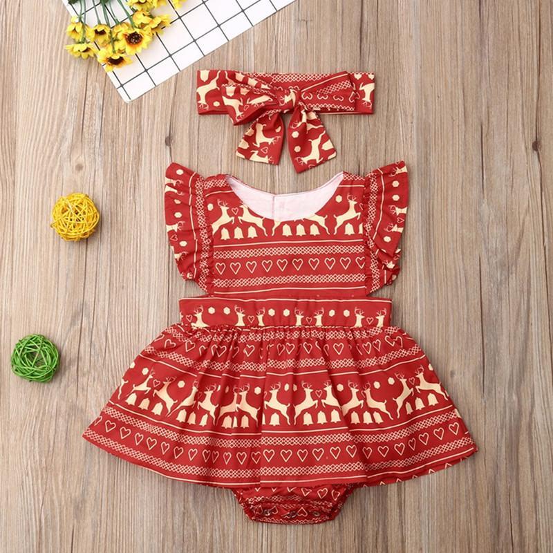 2-piece Christmas Boho Pattern Dress & Headband for Baby Girl