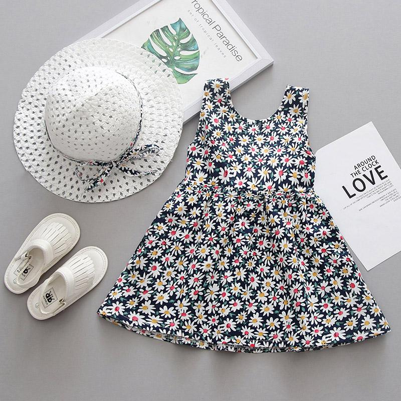2-piece Bow Decor Floral Printed Dress & Hat for Toddler Girl