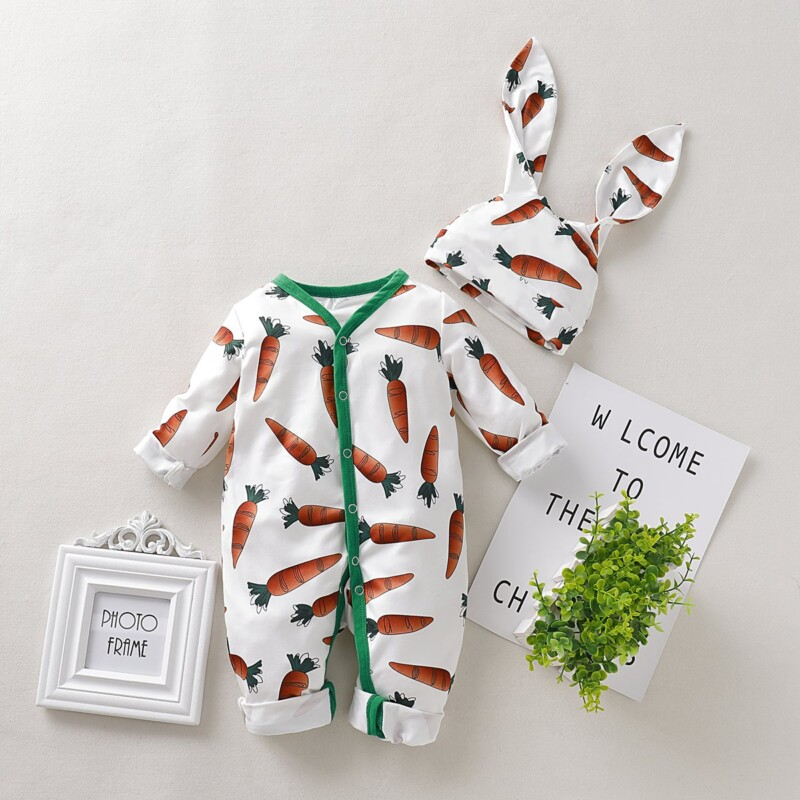 2-piece Carrot Printed Jumpsuit & 3D Design Hat for Baby Girl