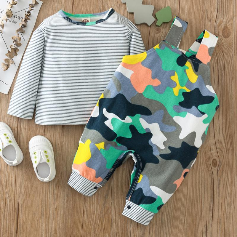2-piece Striped Long Sleeve T-shirt & Camouflage Bib Pants for Baby