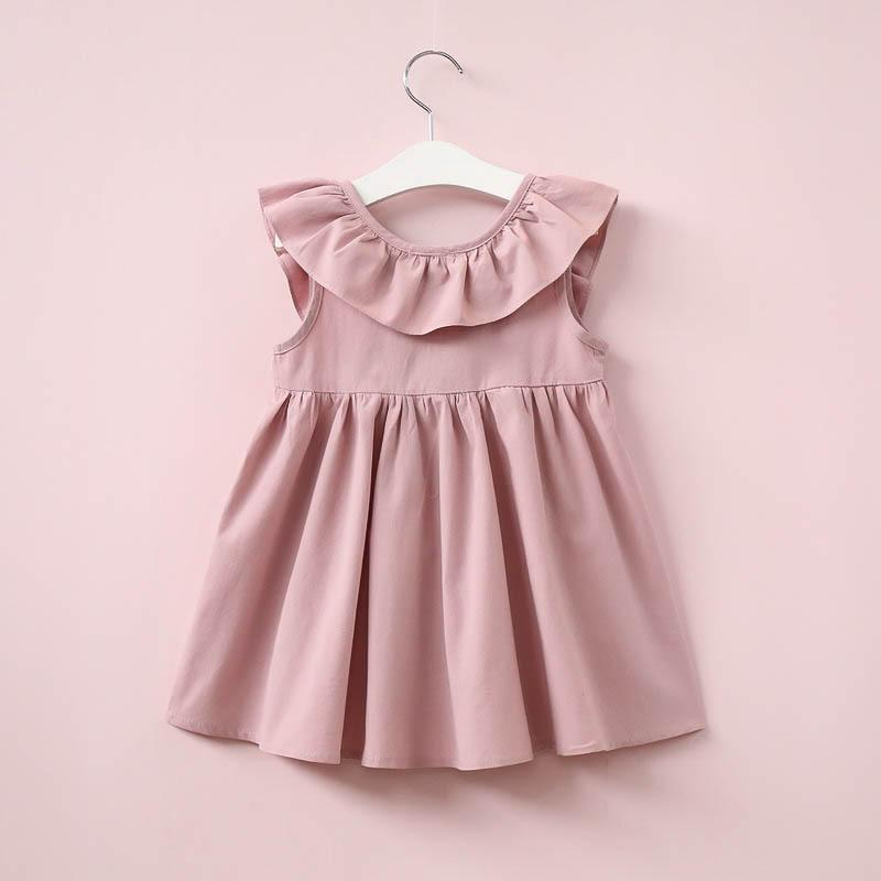 Solid Bow Decor Ruffle Pleated Dress for Toddler Girl