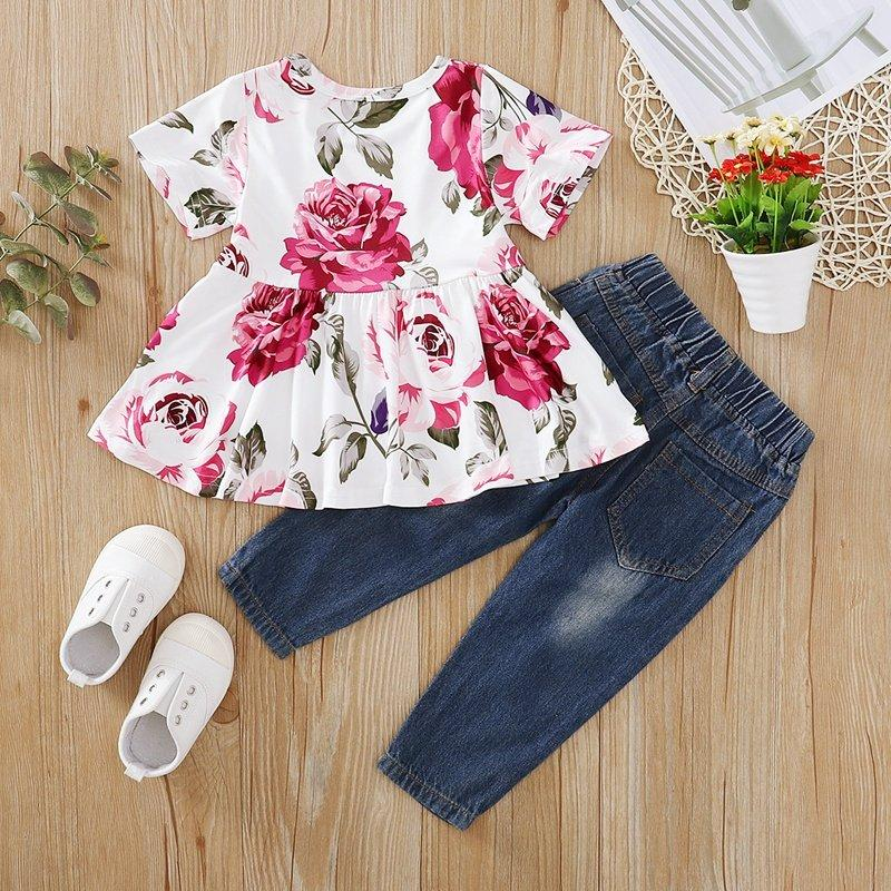 Fashionable Floral Short-sleeve Top and Jeans Set