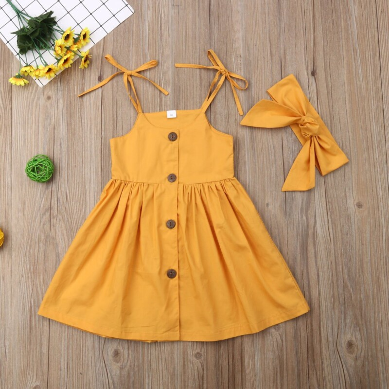 Simple Solid Color Single-breasted Sling Princess Dress with Headband