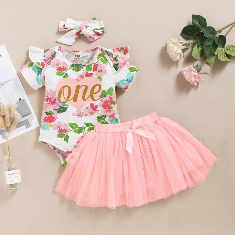 3-piece Floral Printed Bodysuit & Skirt & Headband for Baby Girl
