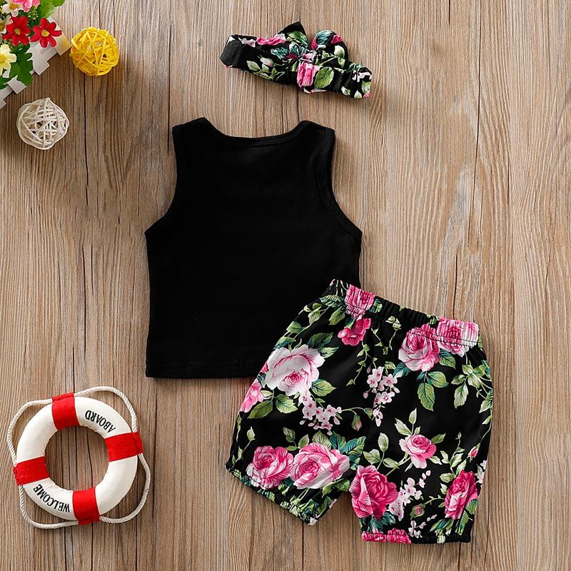 3-piece Letter Tank Top, Floral Shorts with Headband