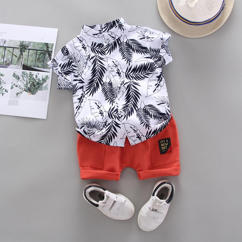 2-piece Feather Pattern T-shirt & Shorts for Toddler Boy