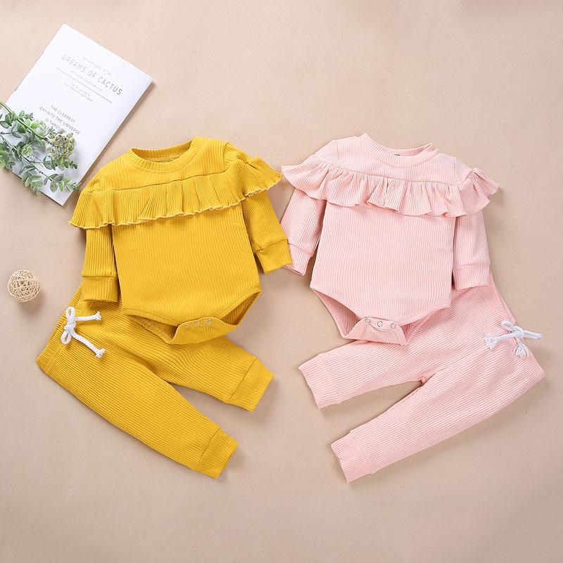 2-piece Solid Bodysuit & Pants for Baby Girl
