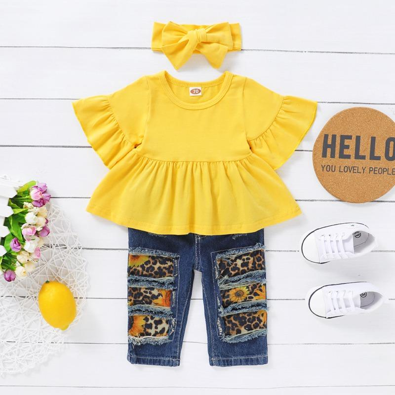 3-piece Solid Ruffle Tops & Jeans & Headband for Toddler Girl