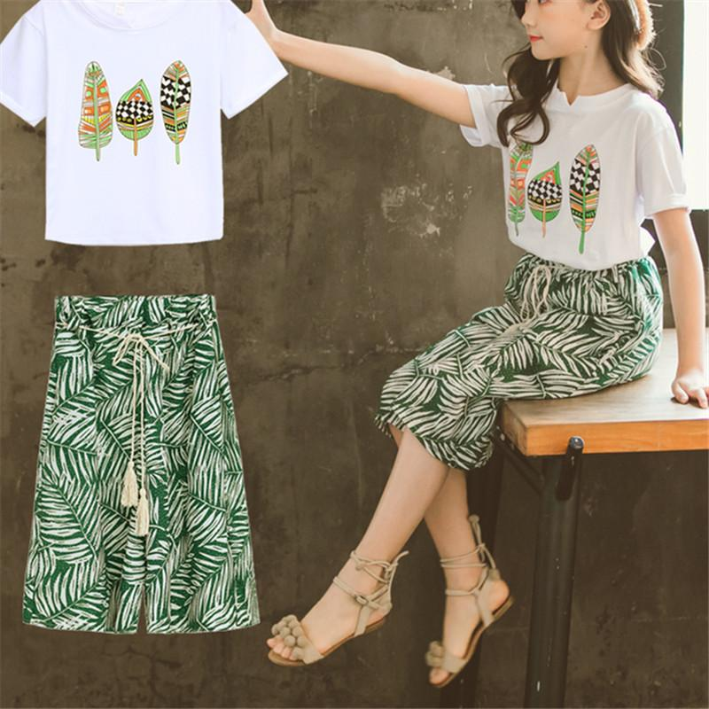 2-piece Plant Printed T-Shirt&Skirt for Girl