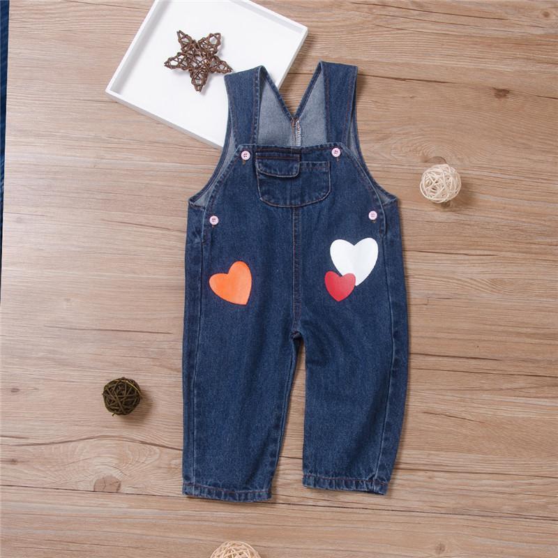 Heart-shaped Denim Bib Pants for Baby