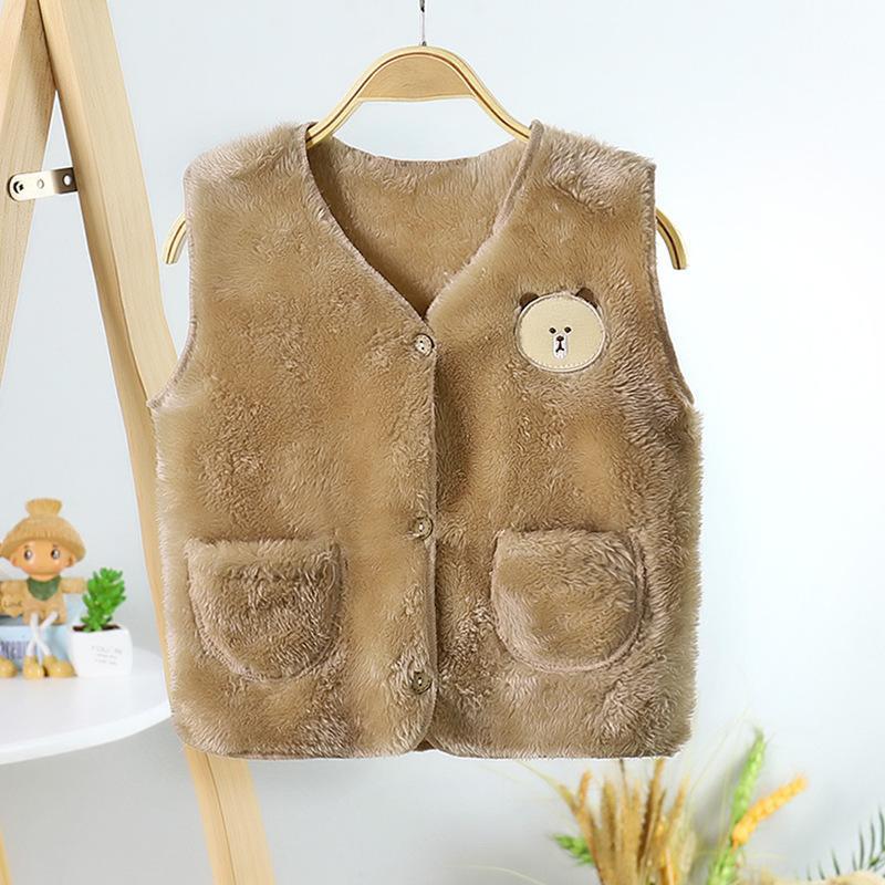 Pattern Plush Vest with Pocket Cute Bear