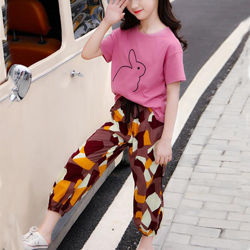 Rabbit Printed T-shirt & Camouflage Pants Set